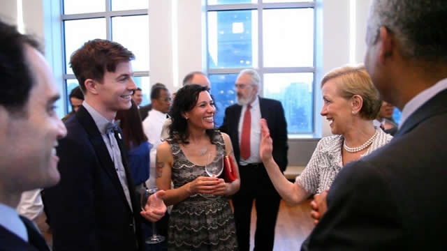 Assistant Secretary Ann Stock (right) chats with 2011-2012 Fulbright-mtvU nominating judges and indie pop band Matt & Kim at a reception celebrating the five-year Fulbright-mtvU relationship.  The event was co-hosted by United States Ambassador to the Uni