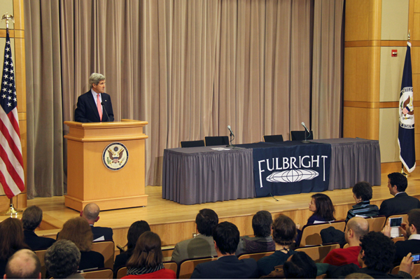U.S. Secretary of State John Kerry at the Washington, D.C. Fulbright Enrichment Seminar in March 2013.