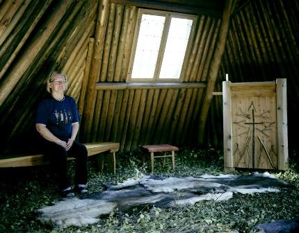 Woman with Reindeer Hide Floor Covering