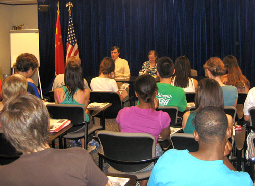 NSLI-Y students participate in a briefing at the U.S. Consulate General in Shanghai, China.
