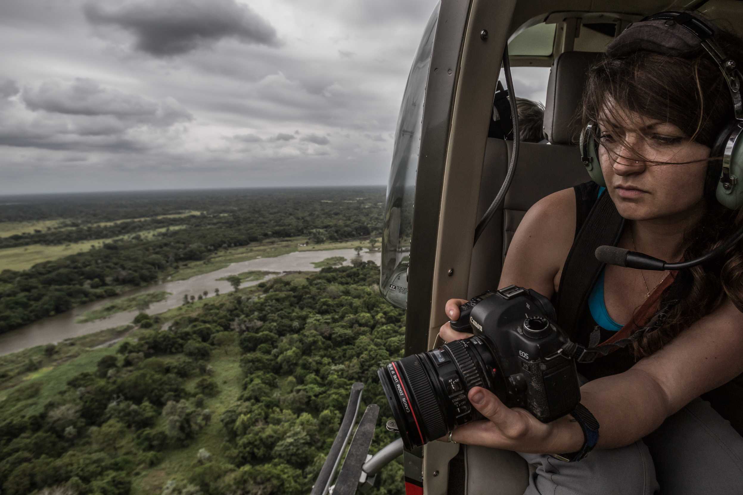 Jen Guyton on helicopter