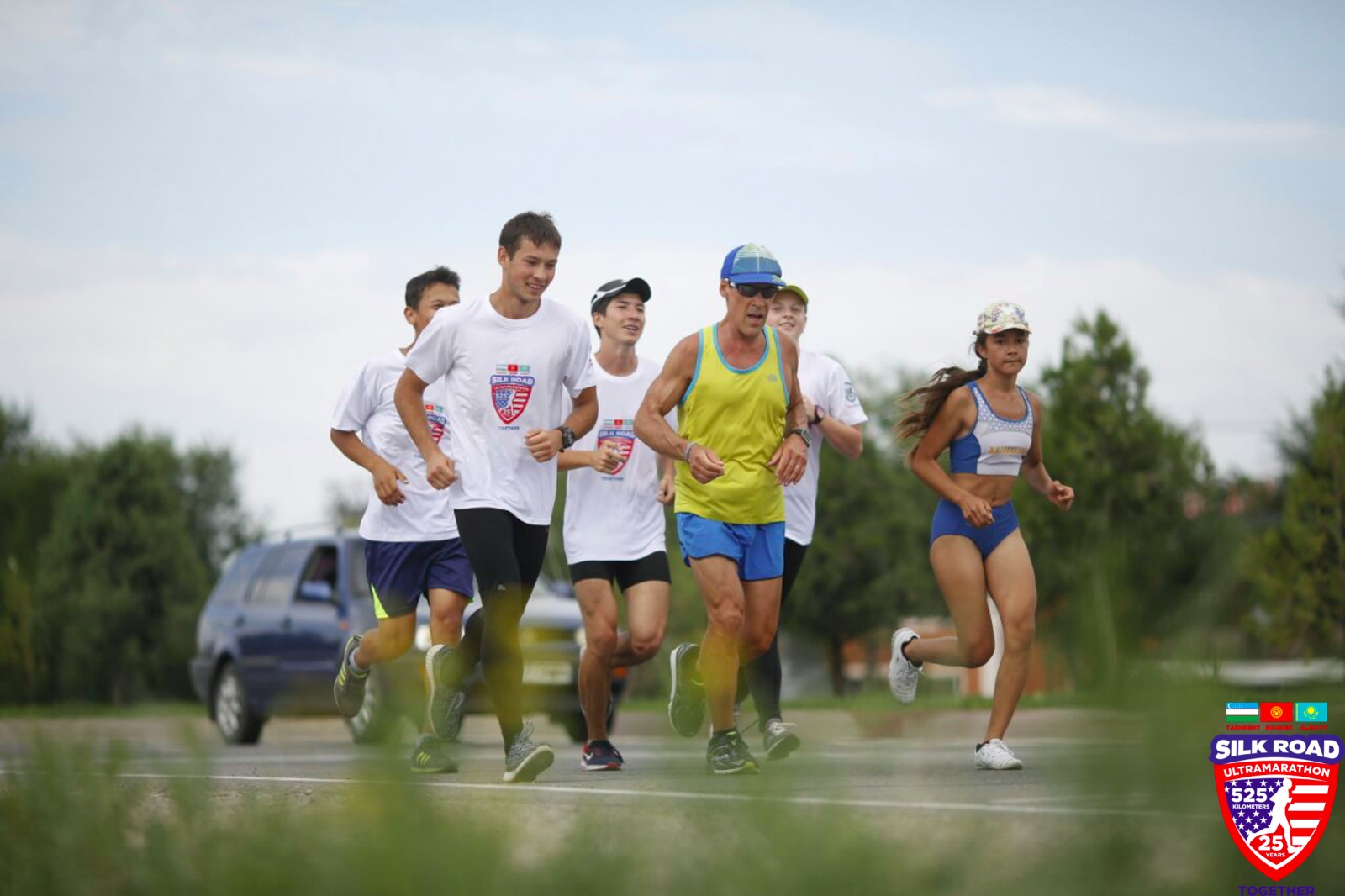 Dean and group running