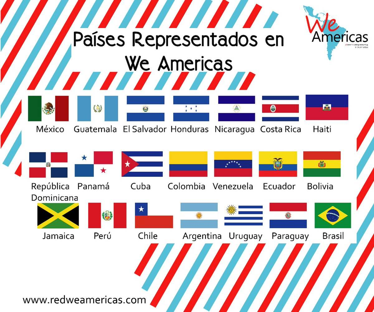 Colorful graphic containing flags for several Latin American and Caribbean countries