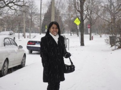 Amy Avellano in snow