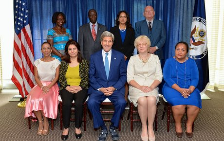 Group photo of heroes with Secretary Kerry