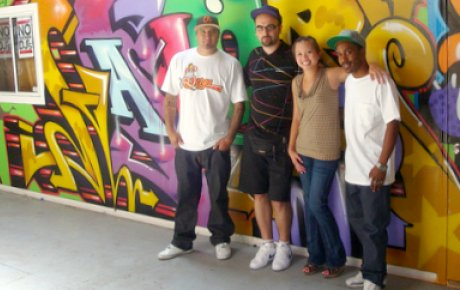 IVLP Gold Star Tolis Aristeidou of Greece (2nd from left) organizes Hip Hop events in his country