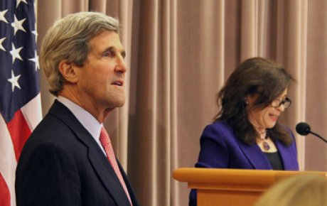U.S. Secretary of State John Kerry and Under Secretary for Public Diplomacy and Public Affairs Tara Sonenshine.