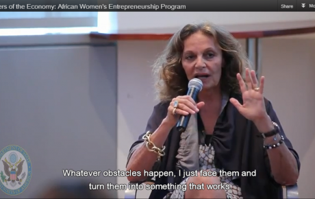 Belgian-American fashion designer, Diane von Fürstenberg, speaks at the 2010 AWEP conference