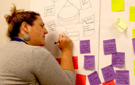 Woman writing on board full of post-it notes