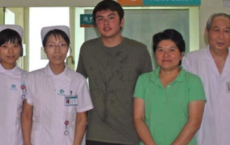 Erik with the hospital staff