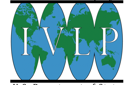 IVLP Logo is a graphic of the letters I-V-L-P across a green world map