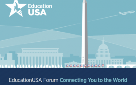 Graphic of EdUSA logo and drawing of Washington monuments in background