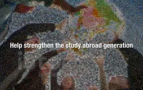 """Screen shot from the video reads, """"Help strengthen the study abroad generation."""""""