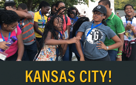 Group of teens dancing with the words Kansas City written at the bottom