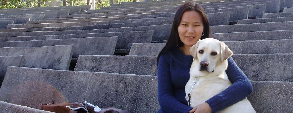 Uyanga Erdenbold and her dog Gladys.