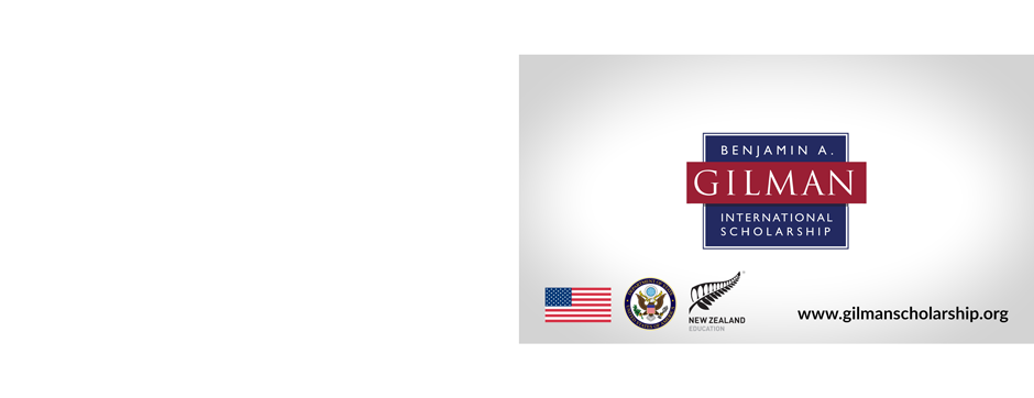 Logo for Benjamin A. Gilman International Scholarship with small American flag, State Department seal and New Zealand education logo in bottom left corner