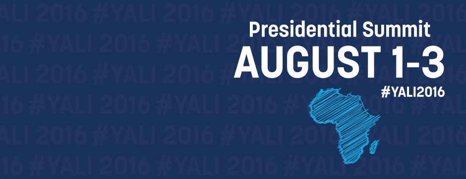 Dark blue background with a light blue sketched design of Africa promoting the Presidential Summit August 1-3, #yali2016