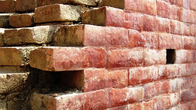 Laying bricks without exposed mortar joints is a time-honored building tradition in Nepal's Kathmandu Valley.