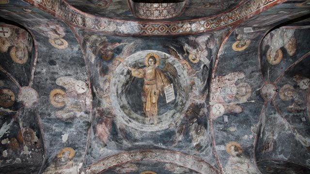 The interior of the Peribleptos church in Ohrid, Macedonia is decorated with 13th-century frescoes signed by the artists.