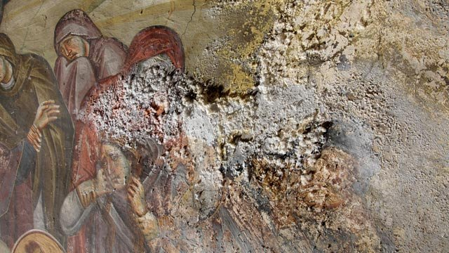 Damage to the 13th-century frescoes at the Peribleptos church in Ohrid, Macedonia is extensive.