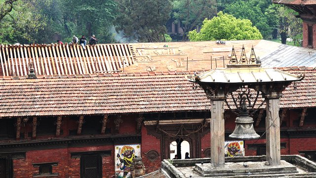 Patan Royal Palace, Lalitpur, Nepal: The restoration of the roof is in full swing in April 2011 at the Patan Royal Palace.