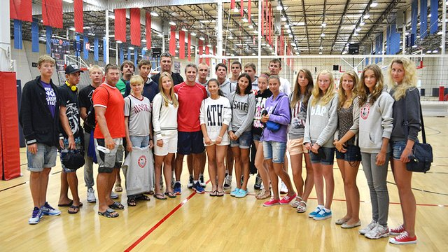 The Russian delegation meets three-time Olympic Gold Medalist Karch Kiraly