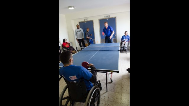 As an alternate activity at the Consulate General Jerusalem, Jackie meets with disability table tennis athletes—and she had a chance to try out a new sport