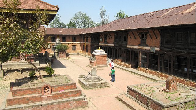 Chengu Narayan, Bhaktapur, Nepal: Once restored, this two-story wing of the Chaugara Sattal surrounding the courtyard at Changu Narayan will become a museum.