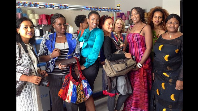 AWEP women check out the merchandise at the LA Fashion Institute.
