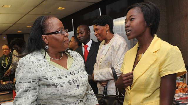Namibian entrepreneur Ottielie Ndamononghenda Haufiku and Penehupifo Pohamba, First Lady of Namibia at RAND African First Ladies Initiative, September 23, 2011, in New York