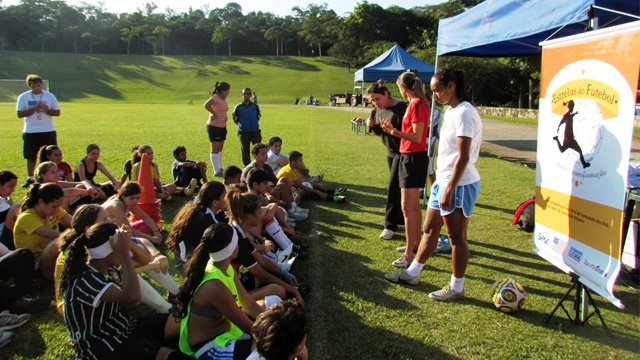 "At a ""Soccer Stars"" presentation, Brandi Chastain and Brazilian Women's National Team member Rosana dos Santos Augusto speak about the health and academic benefits of sports."