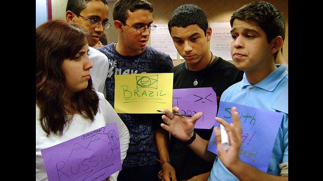Youth Ambassadors discuss global poverty.