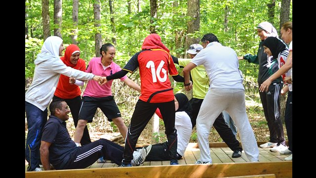 The Egyptian soccer coaches took part in strategy and sports sessions at the EDGE Ropes Course in Northern Virginia.