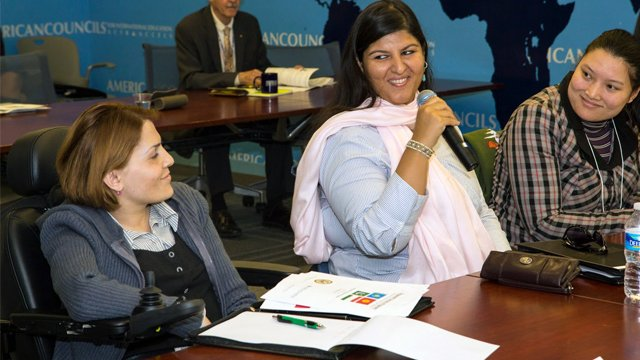 Left to right: Farida Alibakhshova, a fellow from Tajikistan, Sarah Shaikh, a fellow from Pakistan (introducing herself), and Seinep Dyikanbaeva, a fellow from Kyrgyzstan during orientation.
