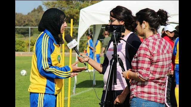 Global Girl Media interviews a participant about the benefits of girls getting involved in sports.