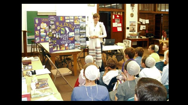 Xenia gives a presentation to an Amish-Mennonite School.