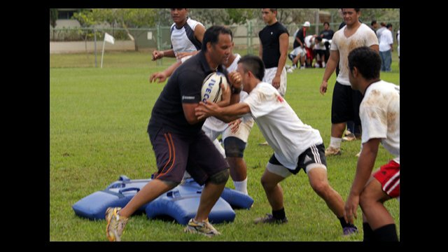 Darryl Suasua of New Zealand Rugby Union leads a rugby clinic in Hawaii.