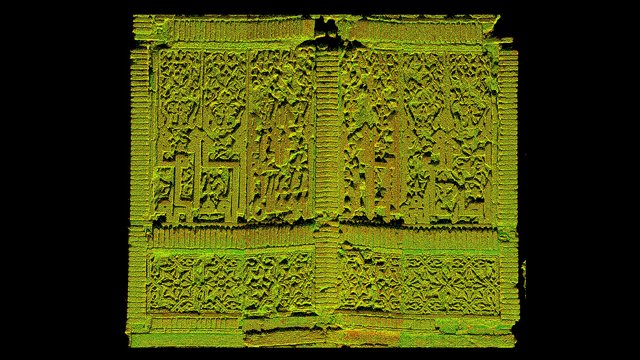 """Flattened image of the brickwork overlaid by """"point cloud"""" data from the laser scanner."""