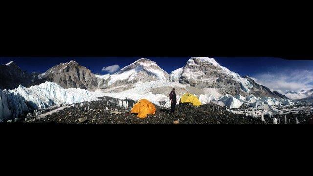 Ilina Arsova, Global Sports Mentoring Program Alumna, sets up at one of the base camps on Mount Everest.