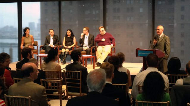 "Panelists (seated, right to left) Tom Rielly, Fellows Director, TED; Ross Hoffman, Strategic Partnerships, Twitter; Josephine Dorado, Professor, The New School; and Jordan Bitterman, Senior Vice President, Digitas, prepare to discuss ""Fulbright in a Conne"