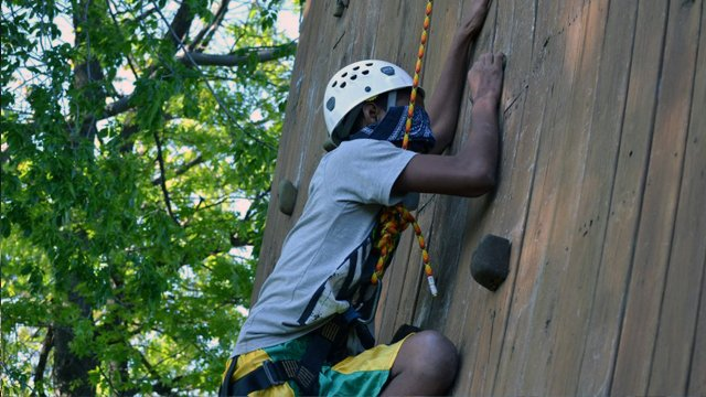The group took part in the Personal Discovery Program ropes course, which is designed to foster confidence, communication, and problem-solving.