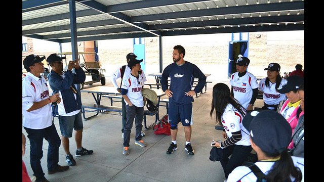 The delegation of coaches meet Jason Bartlett, a Filipino-American player for San Diego.