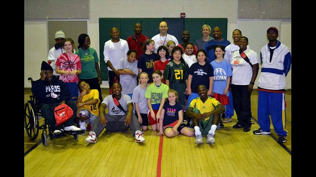 South African coaches pose after training and a scrimmage with the Classics, a DC-area girls team.