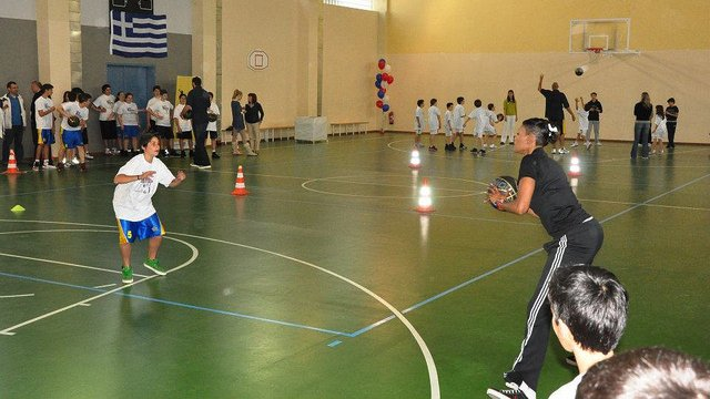 The participants work on skills and drills with Ashley Robinson in Greece.