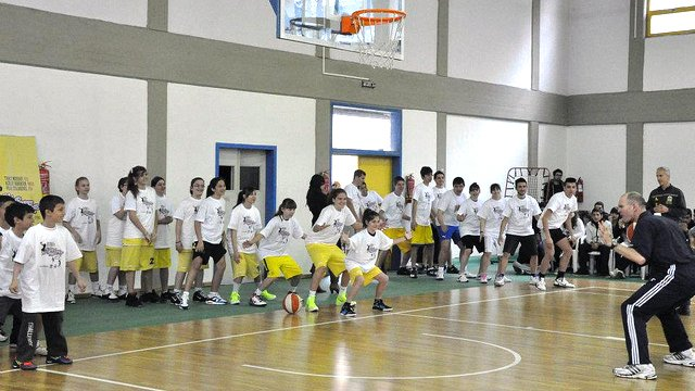 The Sports Envoys hold a clinic for American Farm School students in Greece.