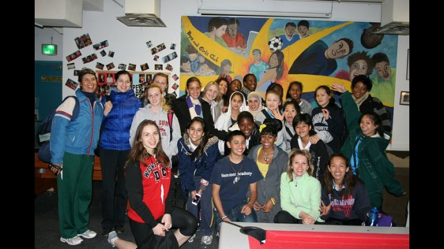 After visiting a local Boys and Girls Club chapter in Denver, the group poses for a photo.
