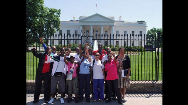 Swaziland participants posing in front of the White House for their first visit.