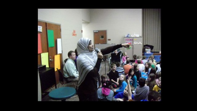 Abla Rasslan Mohammed teaches Arabic at H.L. Harshman Middle School in Indianapolis, Indiana