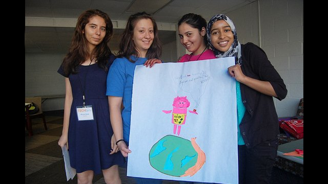 TechGirls present an avatar who speaks in Java to inspire other girls.