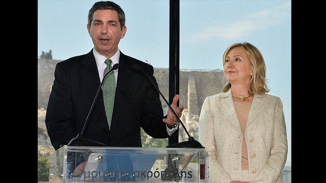 Greek Minister of Foreign Affairs, Stavros Lambrinidis, with Secretary of State, Hillary Clinton, speaking at the Acropolis Museum.